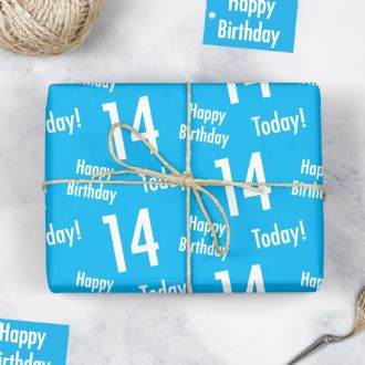 14th Birthday Blue Gift Wrapping Paper & Tags (1 Sheet & 2 Tags) - 'Happy Birthday' - '14 Today'
